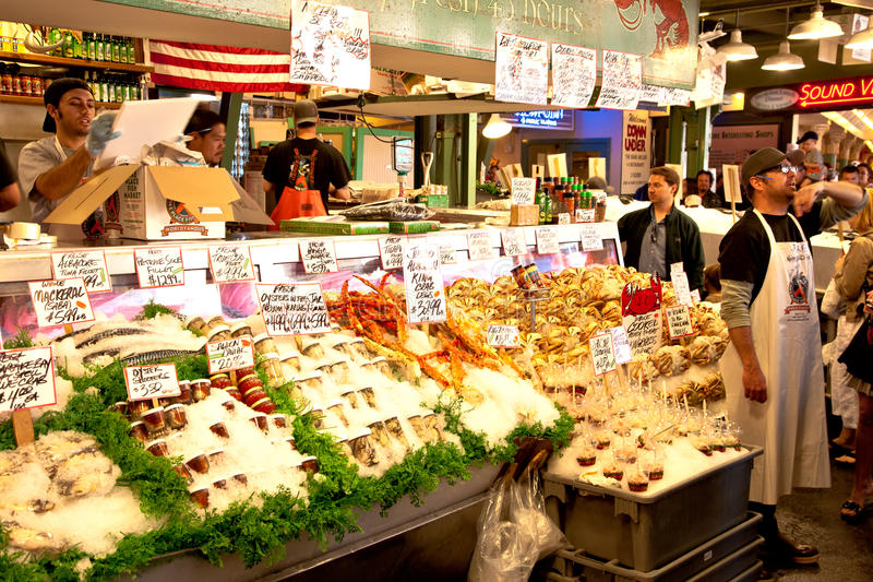 Pike Place Fish Market royalty free stock photos