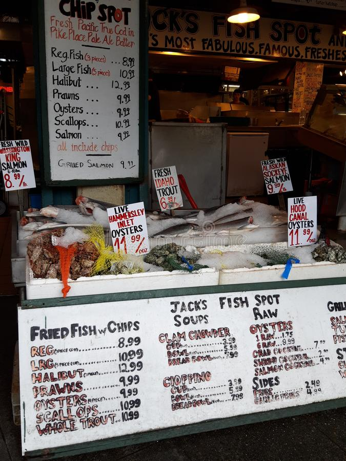 Pike place market fish stand stock photo