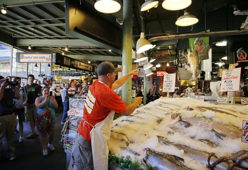 Pike Place Market--Flying Fish royalty free stock image
