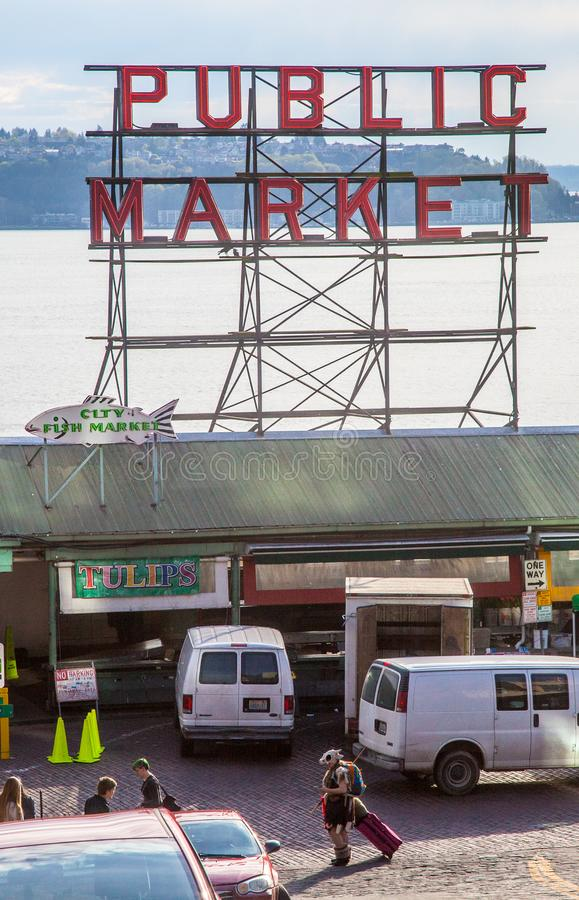 Pike Place Market and People moving to Seattle stock photography