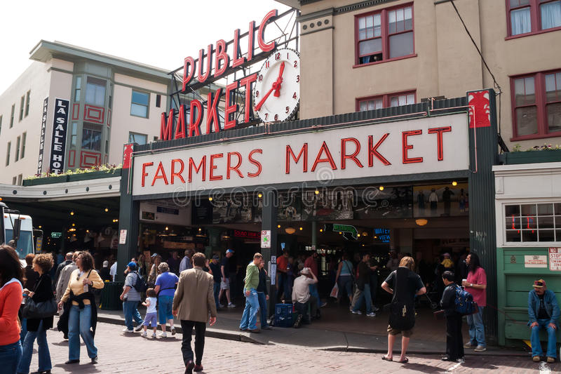 Pike Place Market in Seattle, WA stock photography