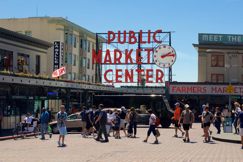 Pike place public market center sign editorial photo for Famous public places