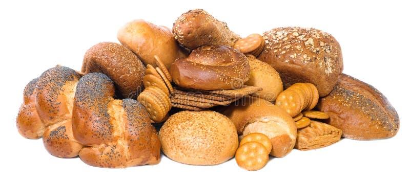Pikelets, Brote und Biskuite getrennt auf Weiß lizenzfreie stockfotografie