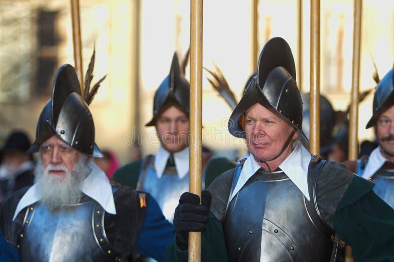 Pikemen i bildande royaltyfria foton