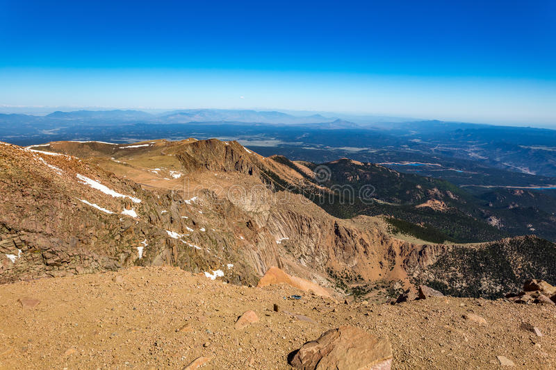 Pikes Peak Colorado. Pikes Peak is the highest summit of the southern Front Range of the Rocky Mountains. The ultra-prominent fourteener is located in Pike royalty free stock images