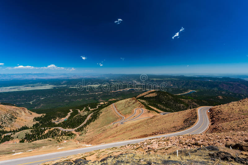 Pikes Peak Colorado. Pikes Peak is the highest summit of the southern Front Range of the Rocky Mountains. The ultra-prominent fourteener is located in Pike stock image