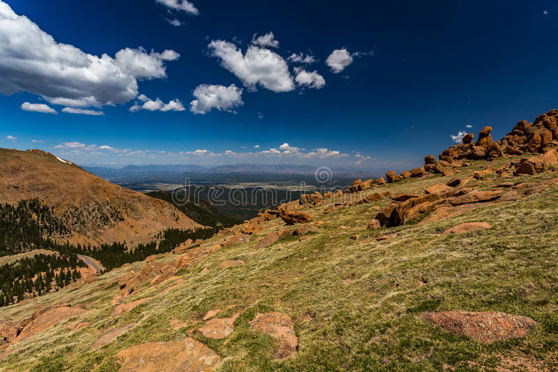Pikes Peak Colorado. Pikes Peak is the highest summit of the southern Front Range of the Rocky Mountains. The ultra-prominent fourteener is located in Pike stock photography