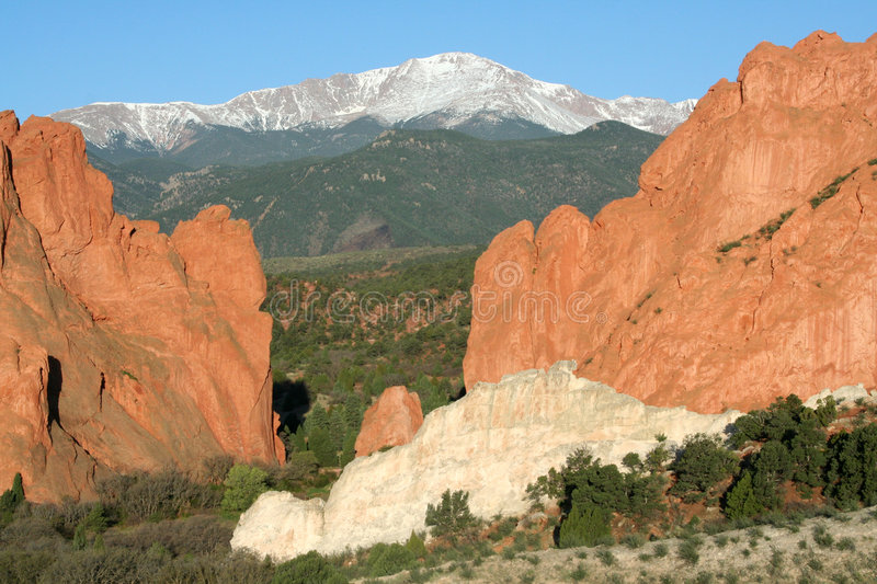 Pikes Peak from the Garden of the Gods stock images