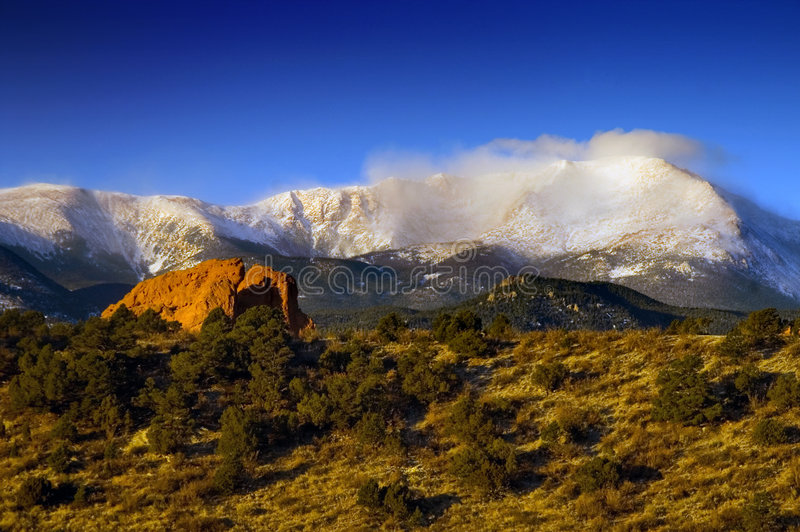 Download Pikes Peak in the snow stock image. Image of picturesque - 4420617