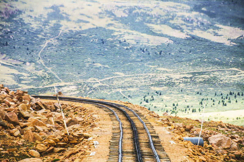 Pikes Peak from the Train. Grab your family and bring your own car to take this 19-mile scenic journey above the clouds! The safe, scenic highway provides you royalty free stock photos