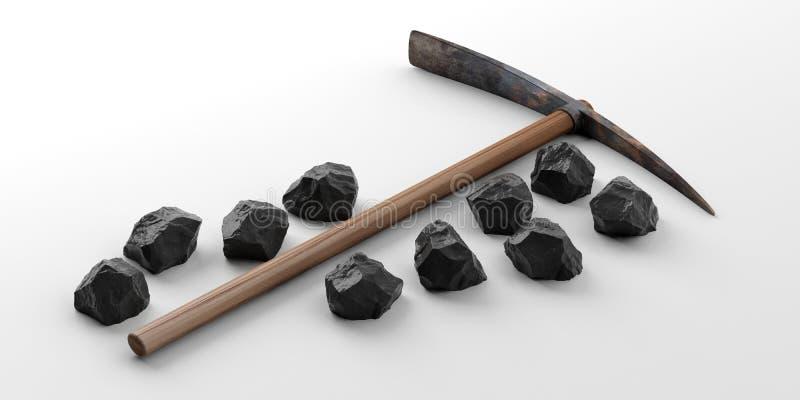 Pikhouweel en zwarte stenen op witte achtergrond 3D Illustratie stock illustratie