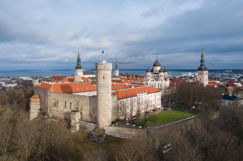 Pikk Hermann, Riigikogu,国民议会,Toompea,塔林,爱沙尼亚 免版税库存照片