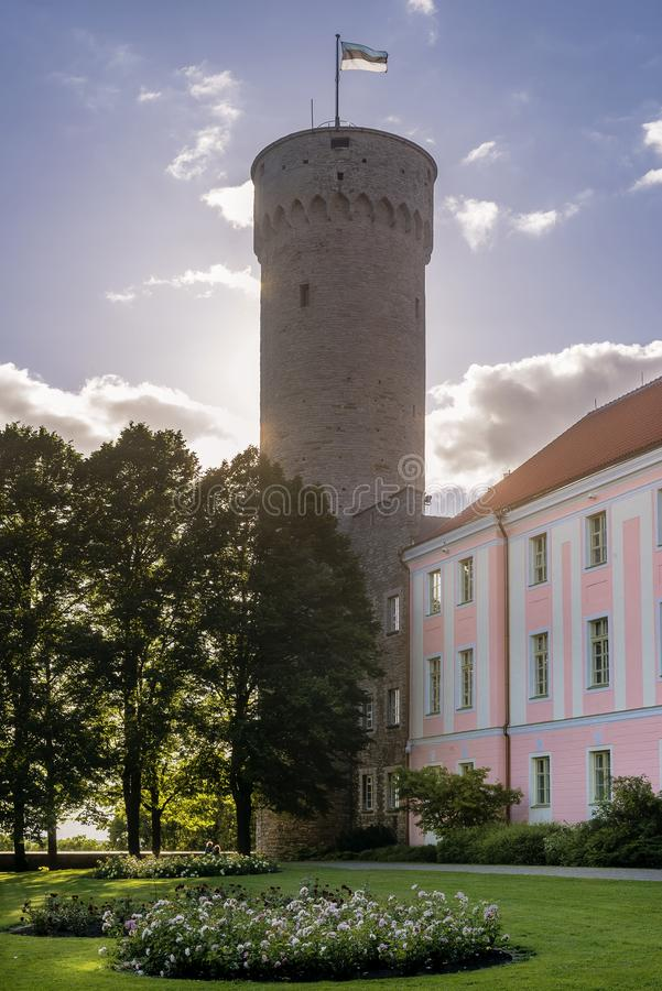 Pikk Hermann or Tall Hermann the tower of the Toompea Castle, on Toompea hill in Tallinn, the capital of Estonia royalty free stock photography