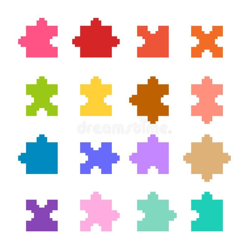 Piksel łamigłówki set ilustracji