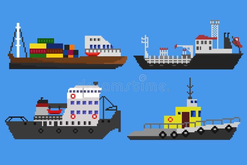 Piksel łodzie i statki royalty ilustracja