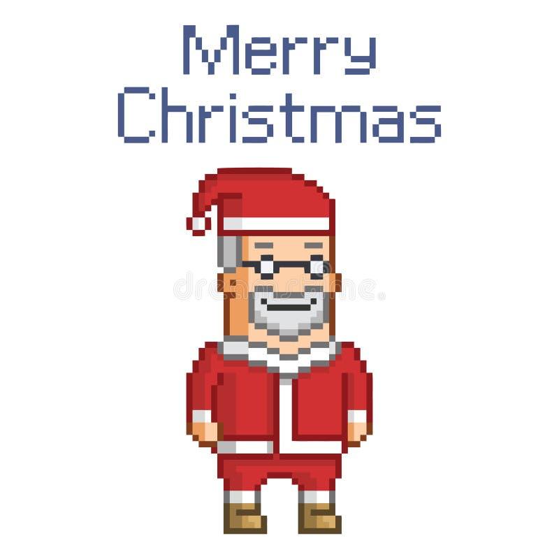 Piksel Święty Mikołaj i boże narodzenia ilustracja wektor