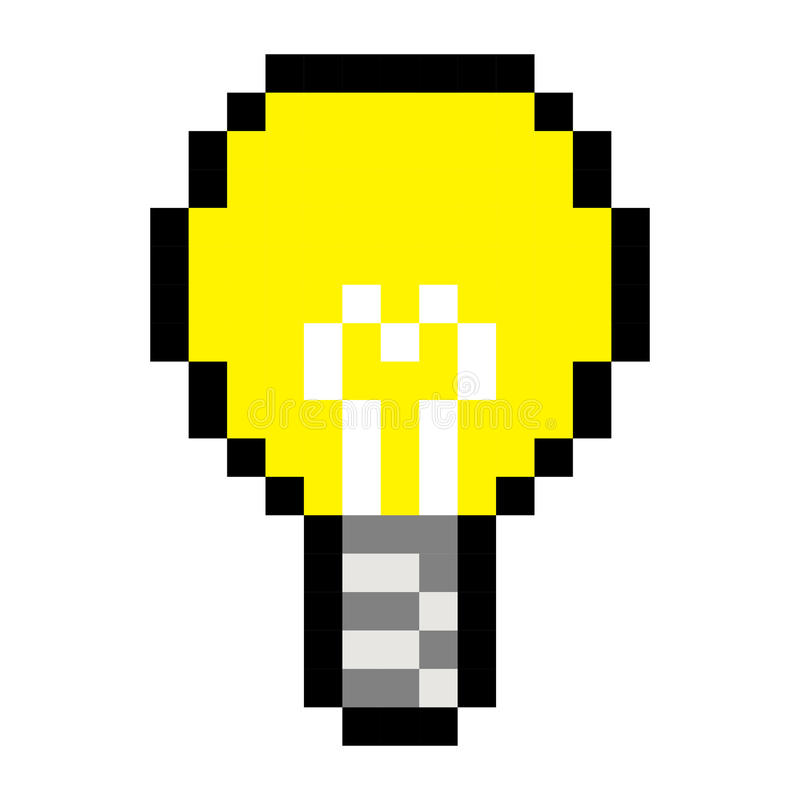 Piksel żarówki pomysłu sztuki kreskówki gry retro styl ilustracji