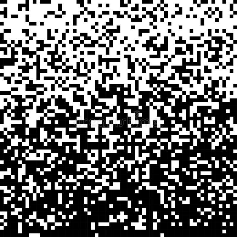 Piksel Abstrakcjonistycznej technologii bw gradientowy tło Biznesowy czarny biały mozaiki tło z pogarszający się pikslami ilustracja wektor