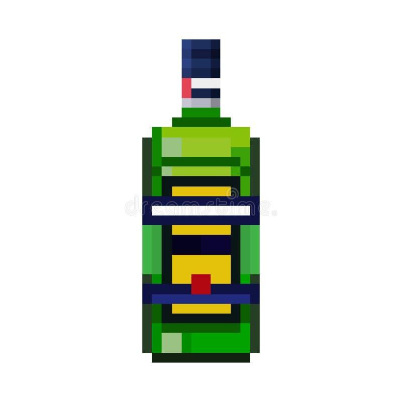 Piksel butelka ziołowy liqueu ilustracji