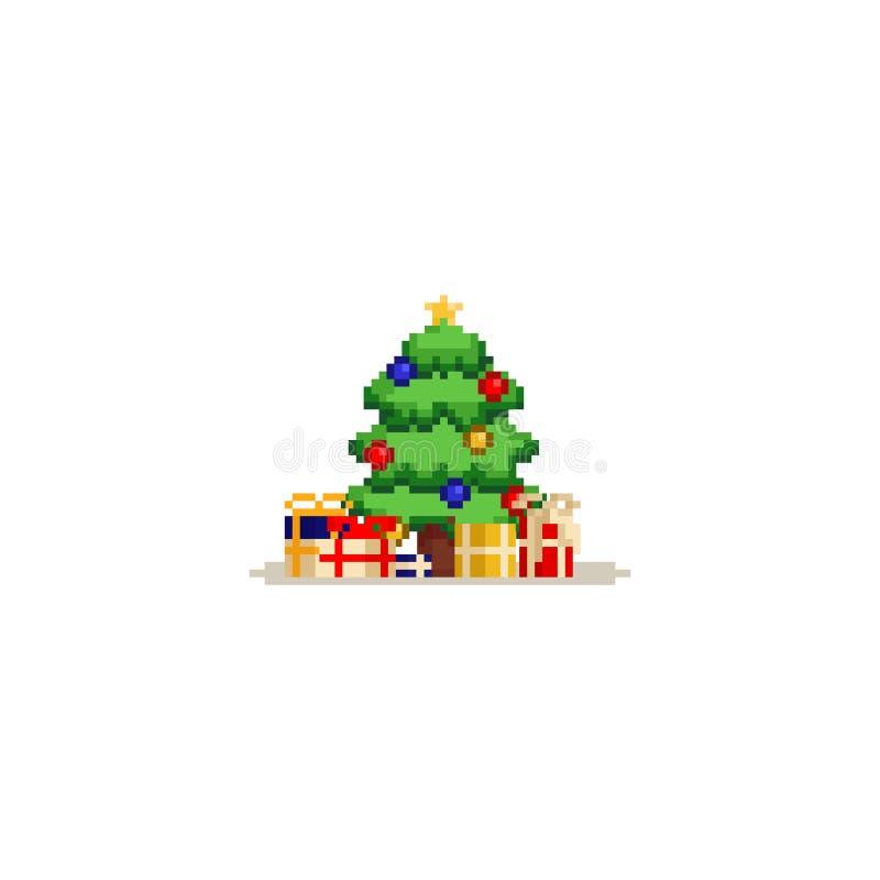 Piksel choinka z prezentów pudełkami 8bit royalty ilustracja