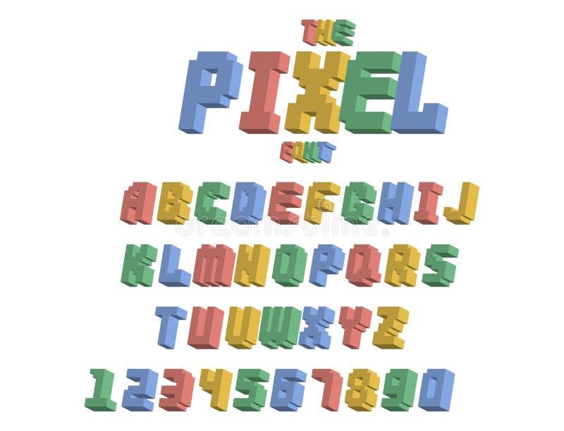 Piksel chrzcielnicy gry komputerowej projekta 8 kawałka listów retro wideo liczb wektoru abc elektroniczny futurystyczny stylowy  ilustracji