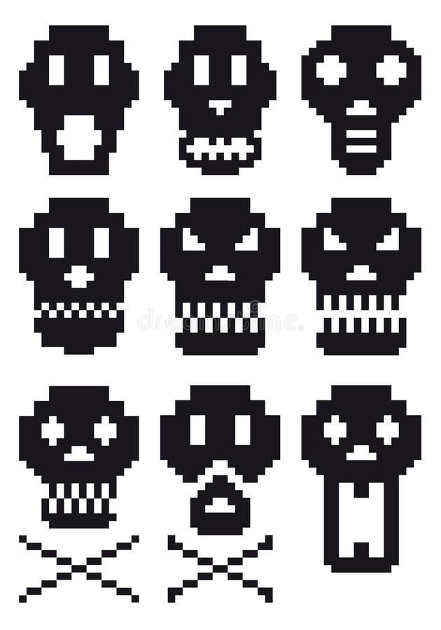 piksel czaszki royalty ilustracja