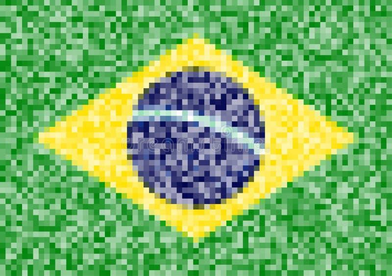 Piksel flaga Brazylia ilustracji