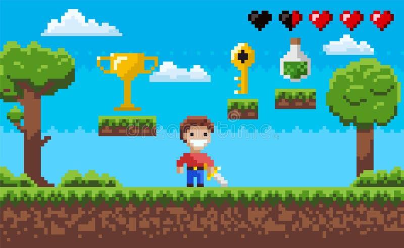 Piksel Gemowa scena, arkada z charakterem i zadania, ilustracja wektor