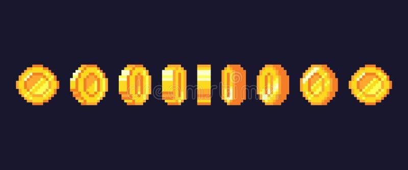 Piksel gra ukuwa nazwę animację Złote pixelated monety animować ramy, retro 16 kawałków piksli złoto i gra wideo pieniądze wektor royalty ilustracja