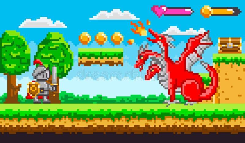 Piksel gra Z smoka i rycerza Walczącym wektorem royalty ilustracja