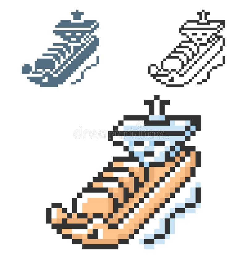 Piksel ikona benzynowy tankowiec w trzy wariantach ilustracja wektor