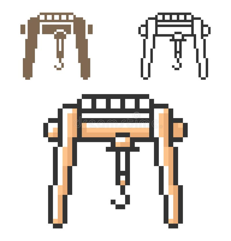 Piksel ikona kętnara żuraw w trzy wariantach ilustracji