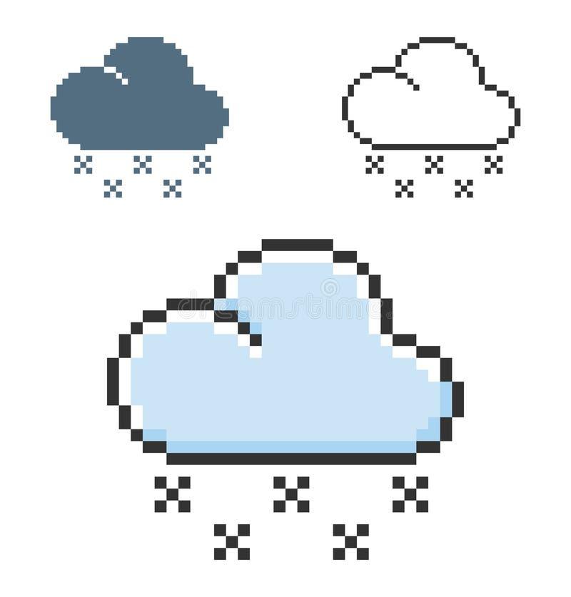 Piksel ikona lekkiego śniegu pogoda w trzy wariantach ilustracji