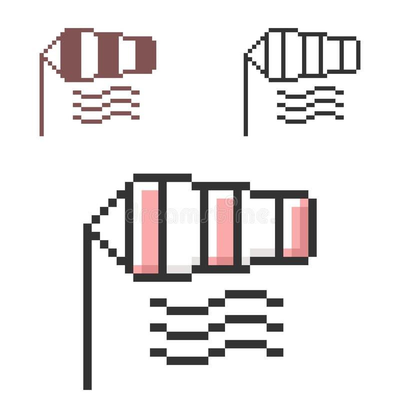 Piksel ikona windsock w trzy wariantach ilustracja wektor