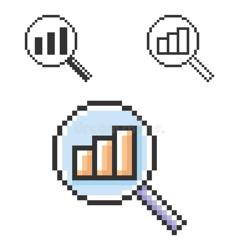Piksel ikona wzrosta powiększać - szkło royalty ilustracja