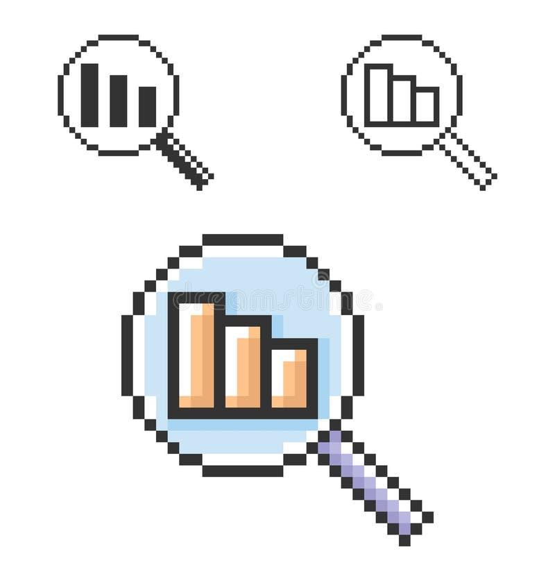 Piksel ikona zmniejszania powiększać - szkło ilustracja wektor