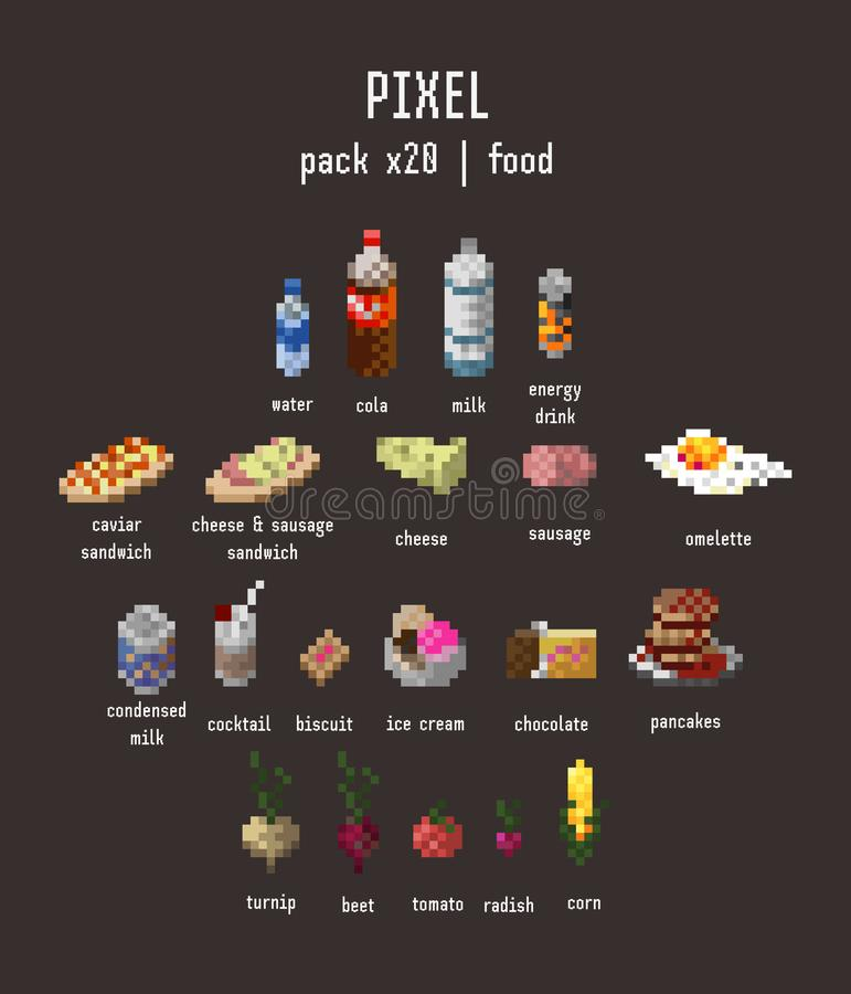piksel karmowa ikona ustawiająca dwadzieścia rzeczy na ciemnego brązu tle ilustracji