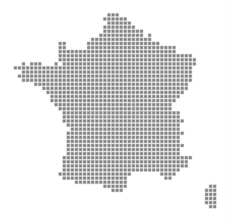 Piksel mapa Francja Wektor kropkował mapę Francja odizolowywał na białym tle Abstrakcjonistyczna komputerowa grafika Francja mapa royalty ilustracja