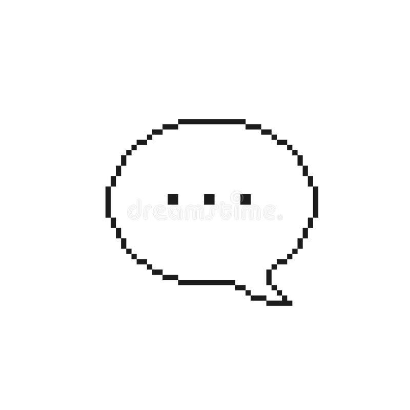 Piksel mowy bąbel Iicon, wektor odizolowywał prostą kontur ilustrację zdjęcie stock