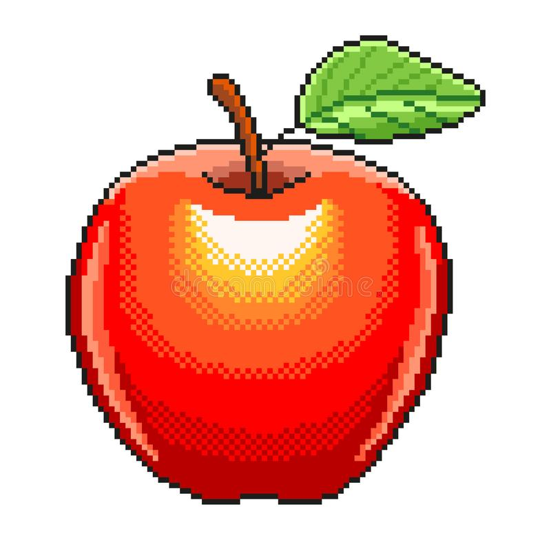 Piksel owoc jabłczanej szczegółowej ilustracji odosobniony wektor royalty ilustracja