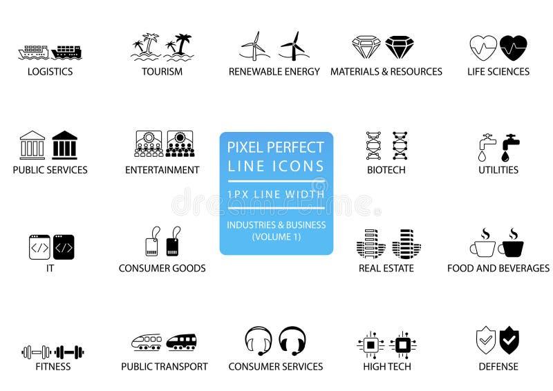 Piksel perfect cienieje kreskowe ikony i symbole różnorodni przemysły, sektory biznesu jak służby publiczne/, towar konsumpcyjny, ilustracji