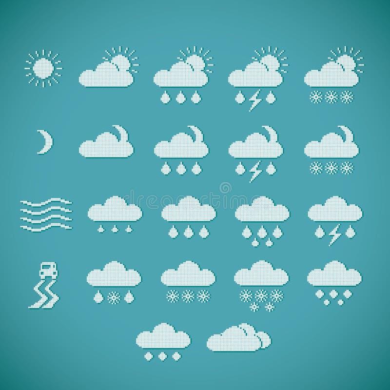 Piksel Pogodowe ikony ilustracji