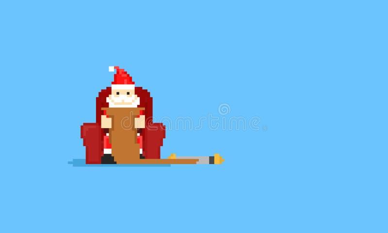 Piksel Santa Claus siedzi na kanapy i czytania życzeniu list8bit royalty ilustracja