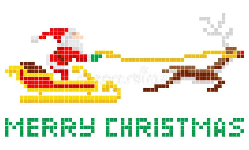Piksel sztuka Bożenarodzeniowy Santa i sanie ilustracja wektor