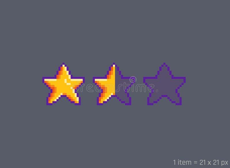 Piksel sztuka gra główna rolę ocenę na szarym tle ilustracja wektor