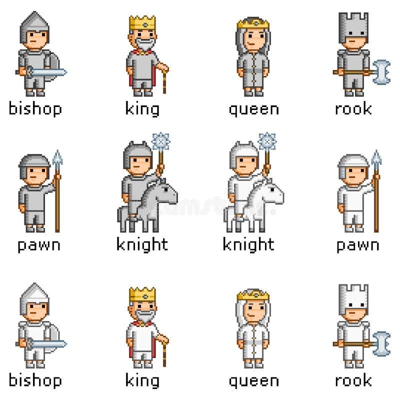 Piksel sztuka ustawiająca szachowi kawałki royalty ilustracja