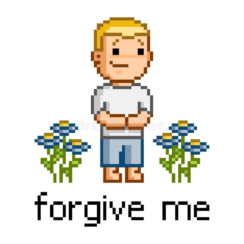 Piksel sztuka wybacza ja ilustracja wektor