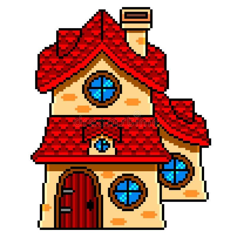 Piksel sztuki bajki dom wyszczególniający odosobniony wektor ilustracja wektor