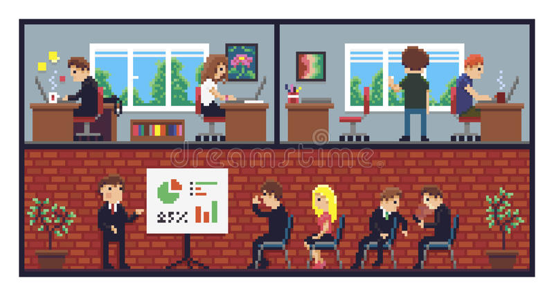 Piksel sztuki biuro ilustracja wektor