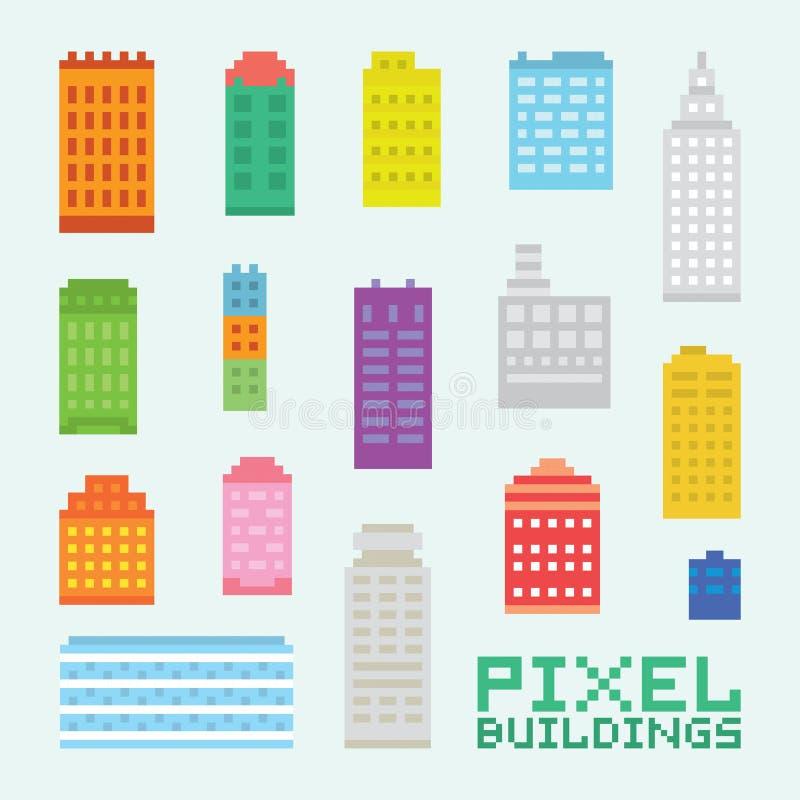 Piksel sztuki budynków wektoru set ilustracji